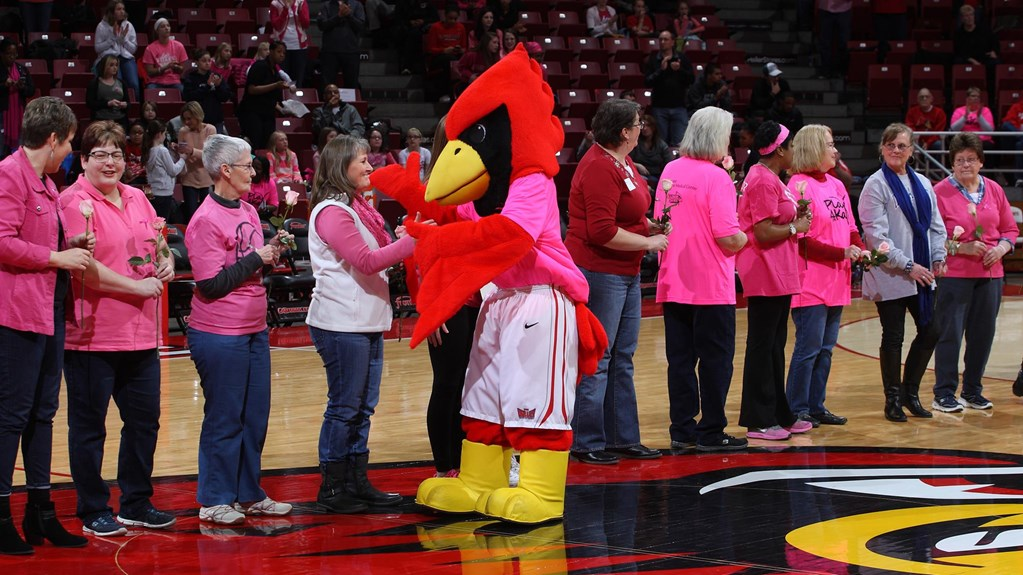 Reggie Redbird with cancer survivors