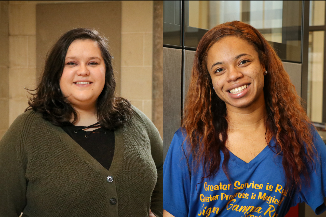 Illinois State students Blair Fernandez (left) and Kema Booker-Ward (right) attended the Student Affairs Leaders of Tomorrow (SALT) Institute in November 2018.