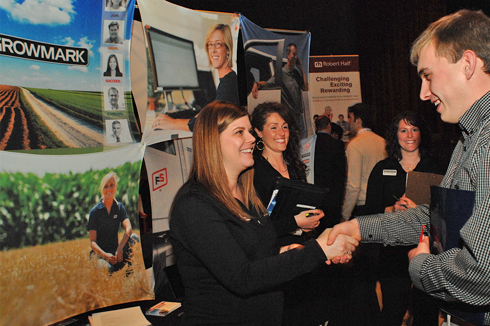 Career Center partner GROWMARK recruits at career fairs.