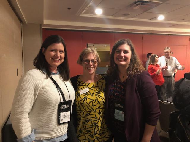 ISU recreation and park administration alumni Katie Jones (left) and Jennifer Bruggeman (right) with Professor Barbara Schlatter (center)