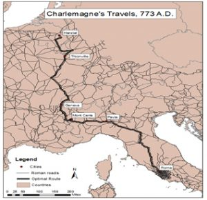 Map of Charlemagne's travels in 773 A.D.