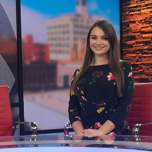 Ozarks First morning news reporter Hannah Zettl ('18)
