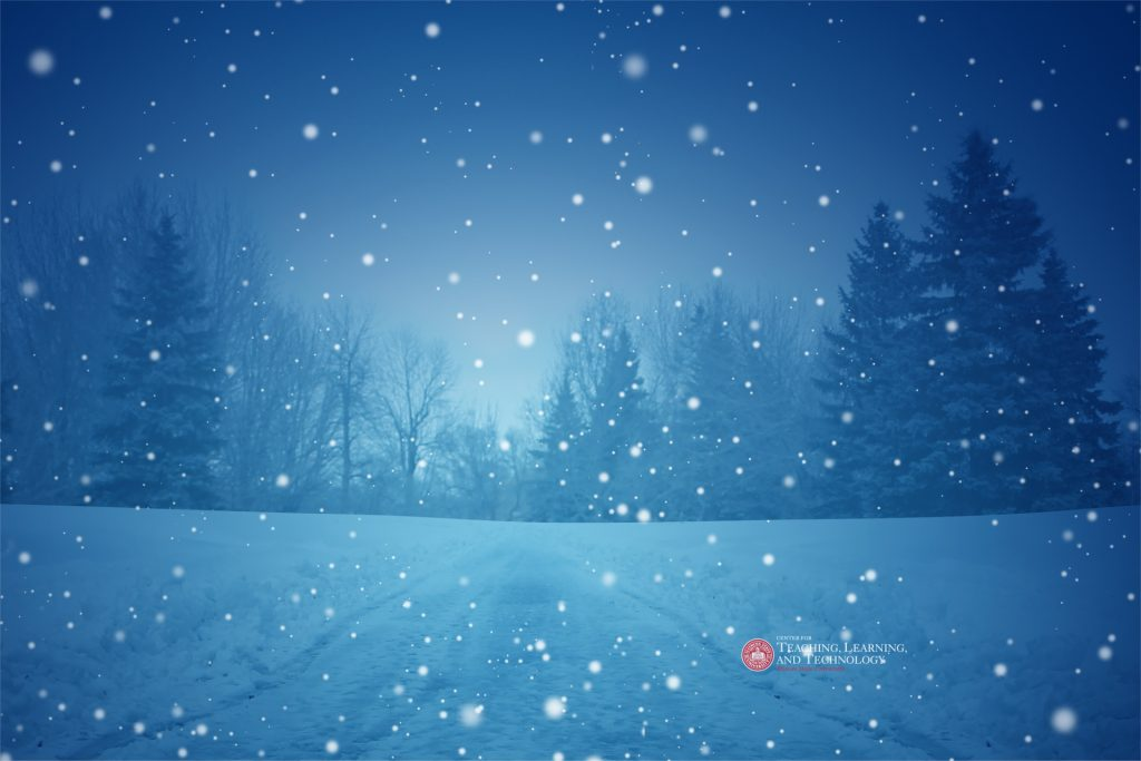 A dark, wintery scene with snow falling on distant fir trees, reminiscent of Disney's film Frozen.