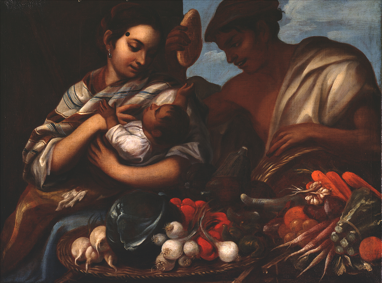 Painting of woman holding baby with man looking over them.