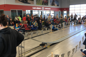 The Pinewood Derby racetrack.