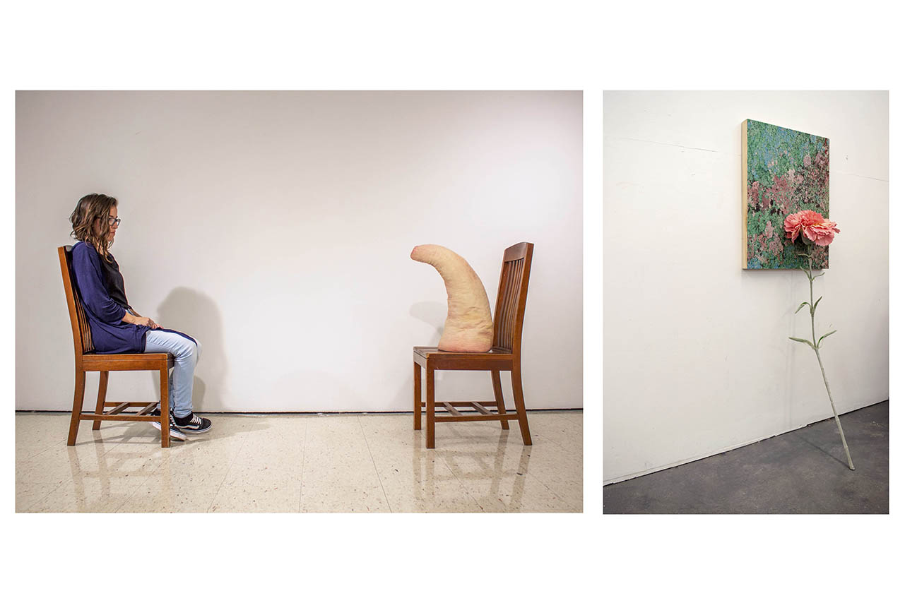 Images of the artwork from the students who won the 2019 Marshall Delany Pitcher Awards. The image on the left is of a woman sitting in a chair and facing a ceramic piece, also sitting in a chair. The image on the right is of a carnation leaning against a multicolored painting.