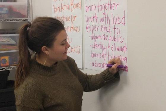 Spoden writing on flip chart