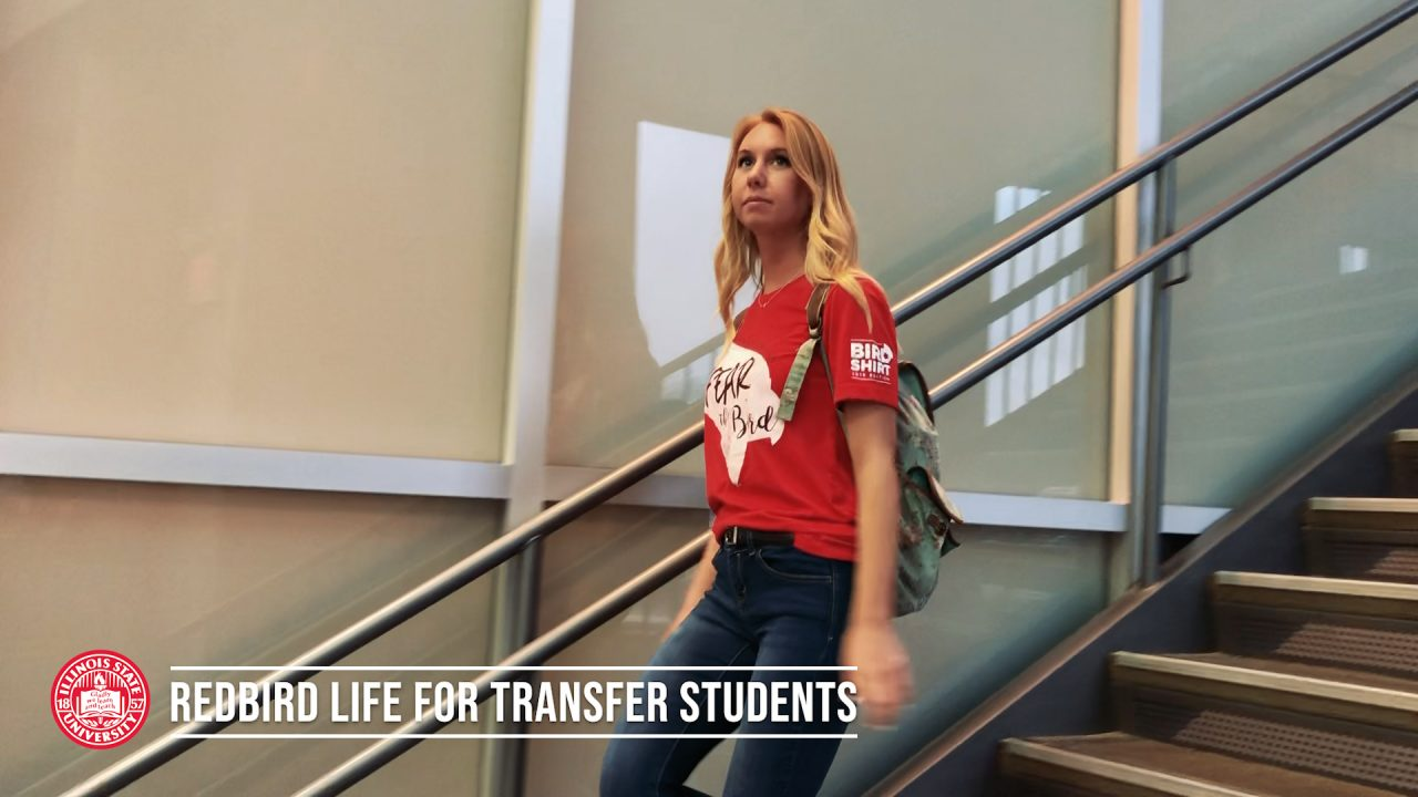 Transfer student walking at Student Fitness Center at Illinois State