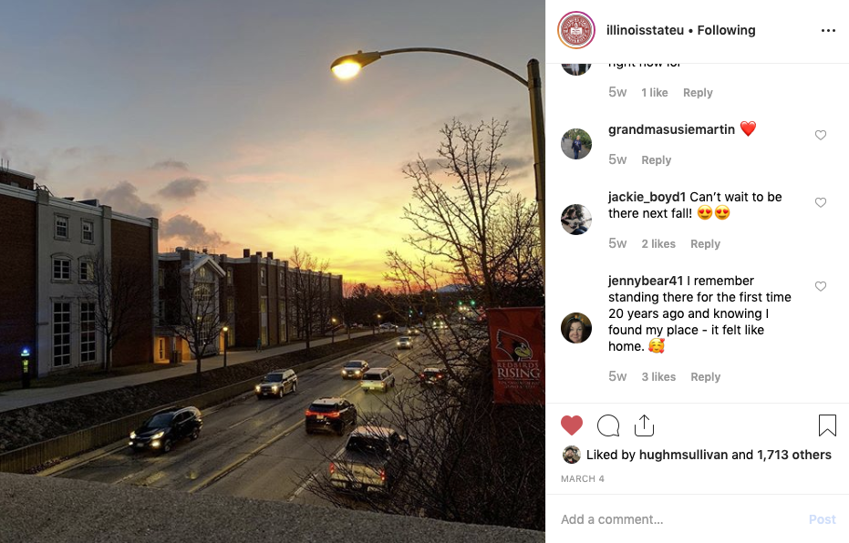 Screenshot of Instagram post showing the campus at dusk.