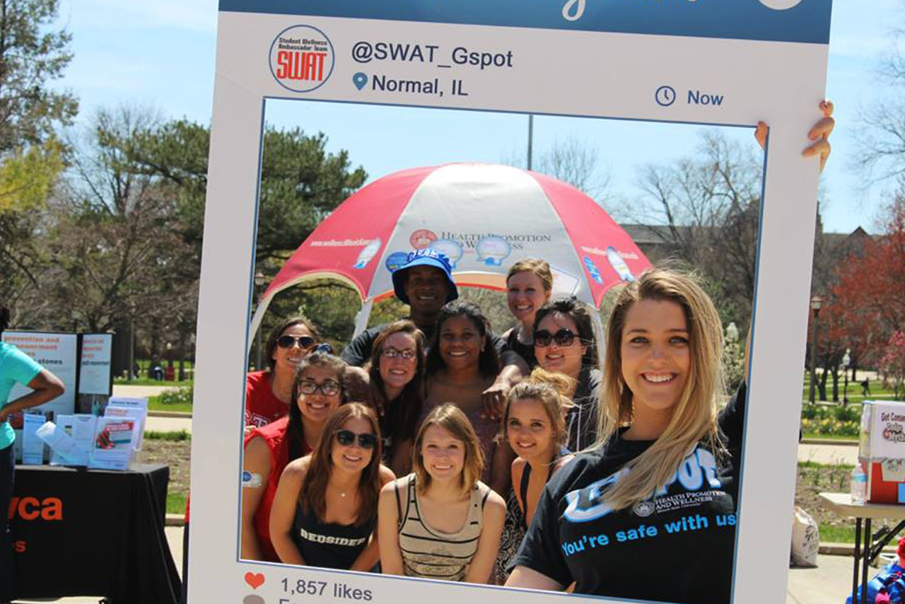 Students posing at Consent Day on the Quad