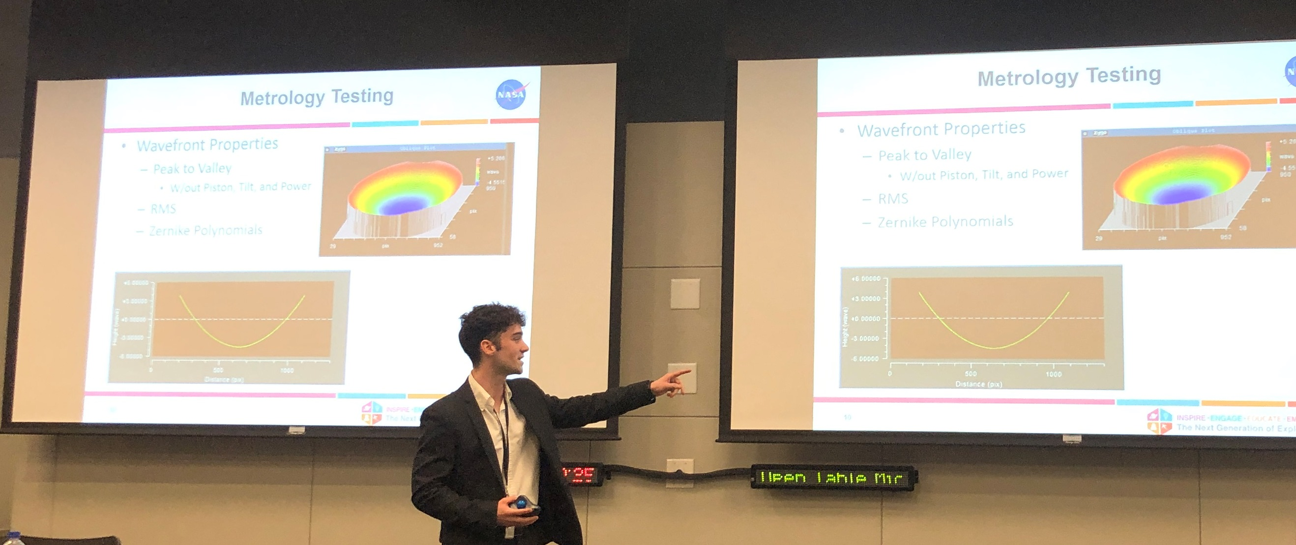 ISU Physics student Zachary Temple presents research from his internship at NASA.