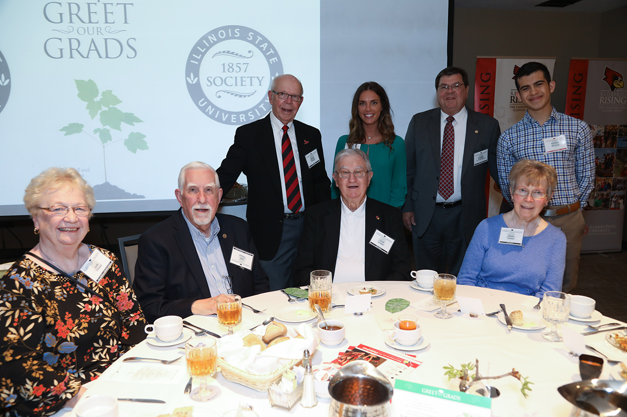 Front row (left to right): Judy Glaser, Bob Glaser '58, MS. '63, Gene Jontry '58, Diane Jontry '66 Back row (left to right): President Emeriti David Strand, agriculture communications and leadership major Madison Ballard, President Larry Dietz, computer science and mathematics major Basheer Becerra