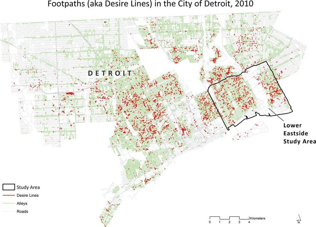 map of urban Detroit with red dots indicating footpaths. The Lower Eastside is highlighted.