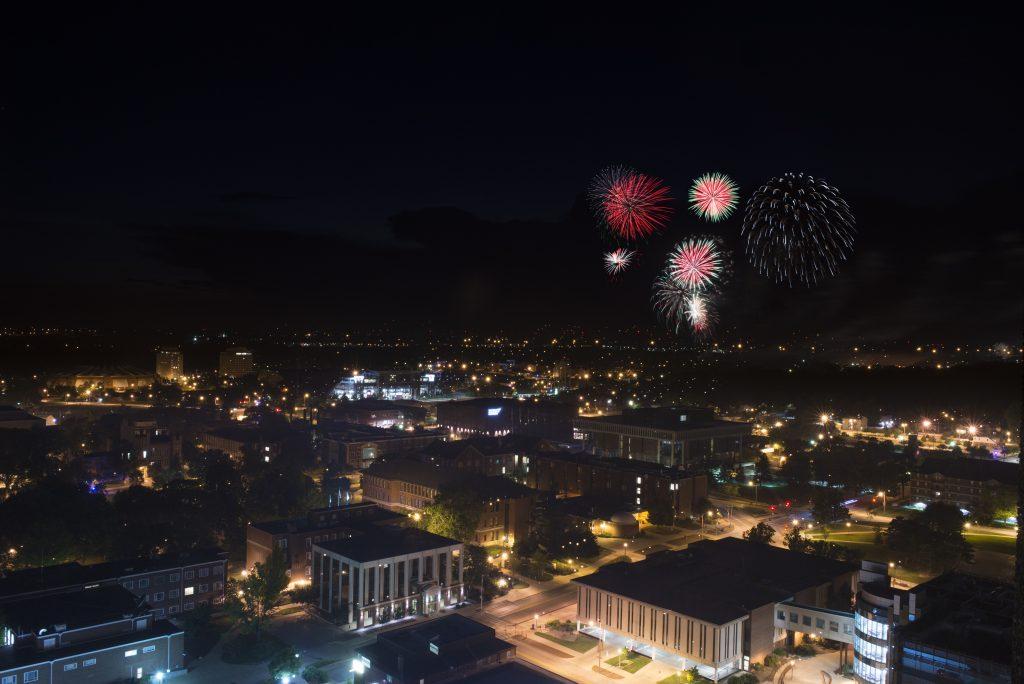 Fireworks at ISU campus.