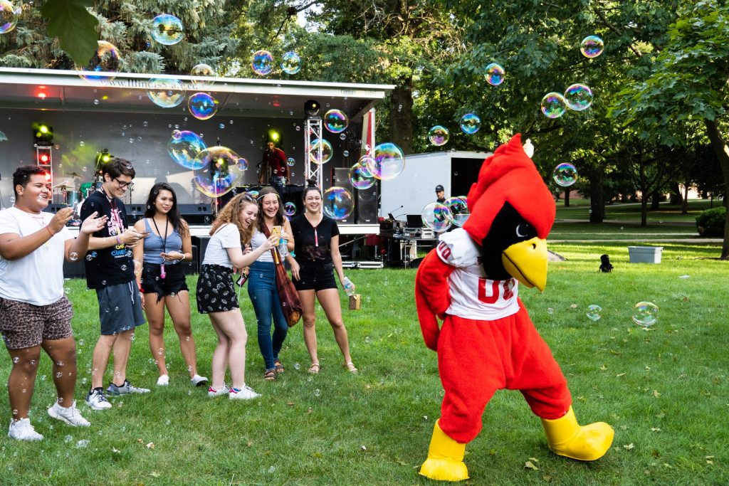 Reggie Redbird at Welcome Week.