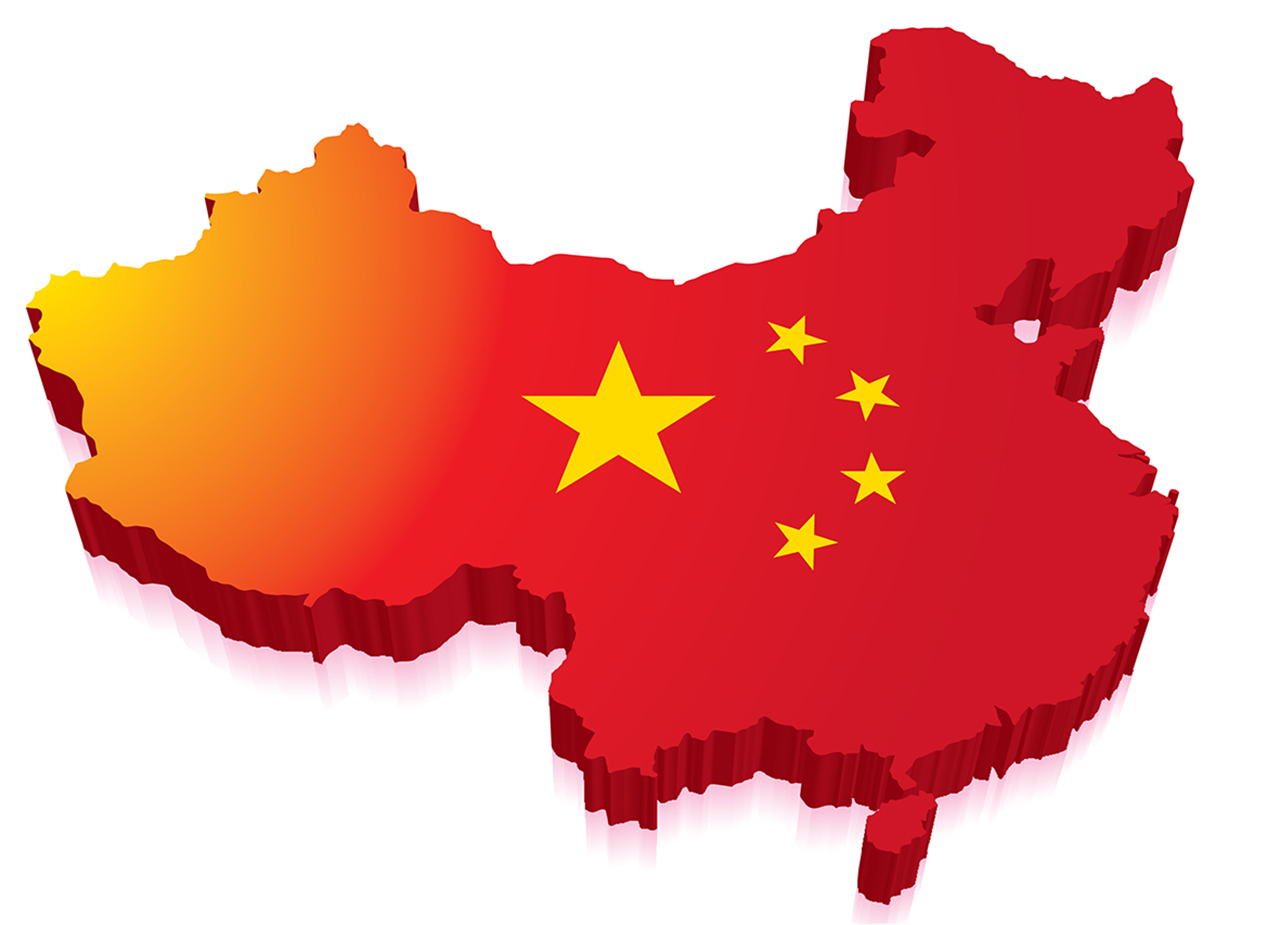 3D map of China with symbol of Chinese flag