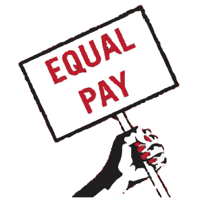 Graphics of a hand holding a sign that says equal pay