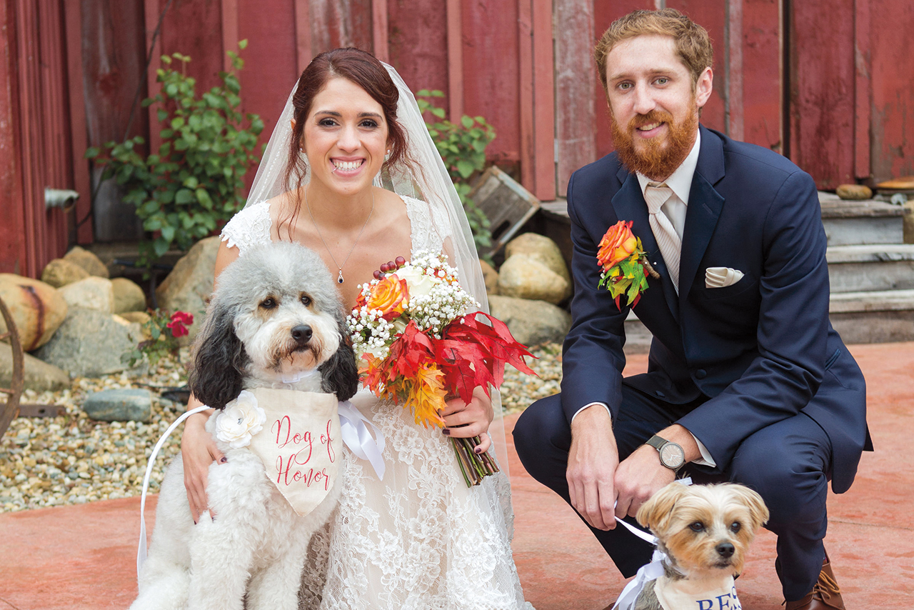Arielle and Kyle included Sadie, left, and Marley in their wedding.