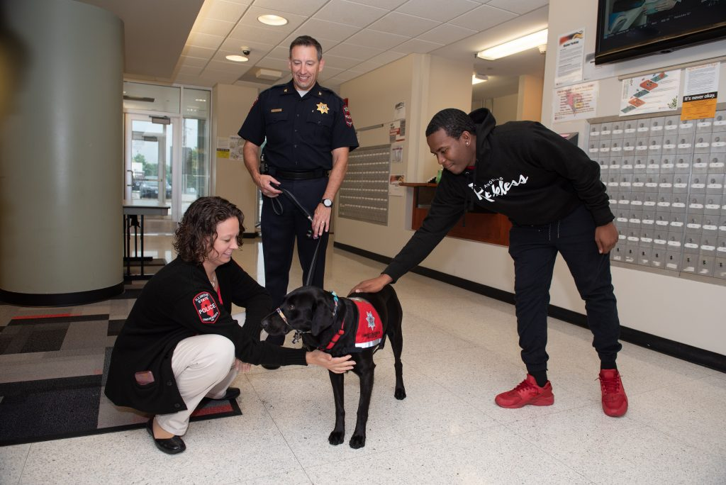 Community engagement dog Sage with student and handlers.