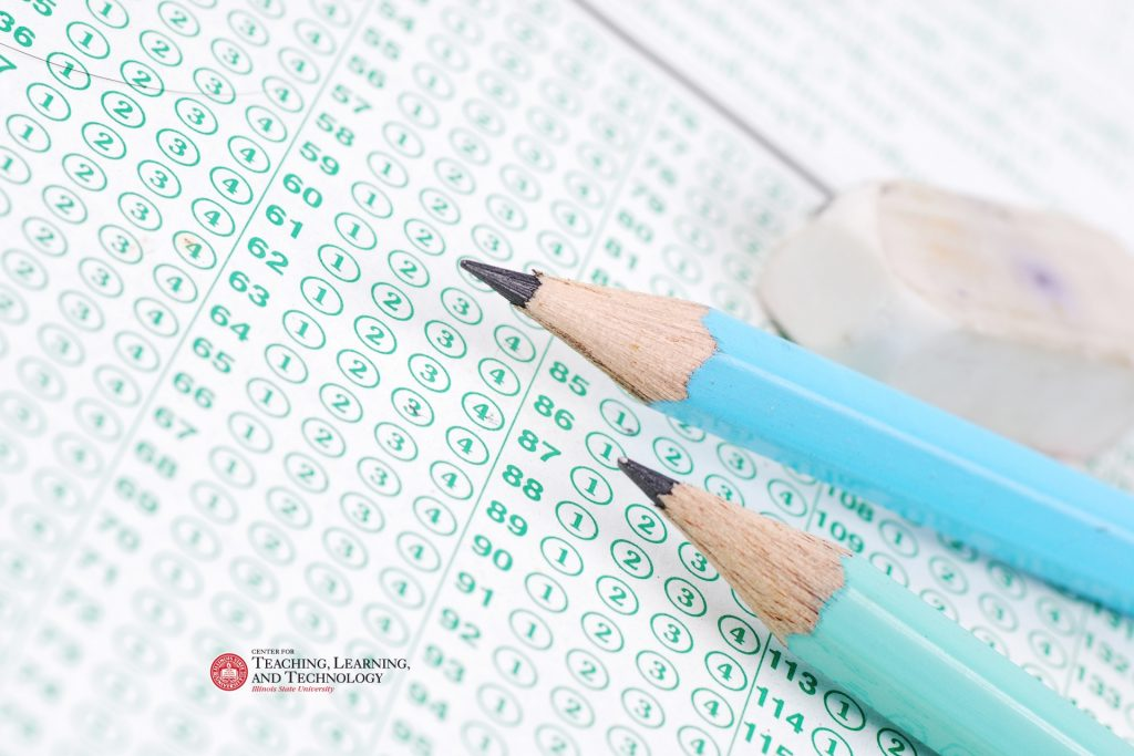 Opscan form with pencils, and eraser, and the Center for Teaching, Learning, and Technology logo.