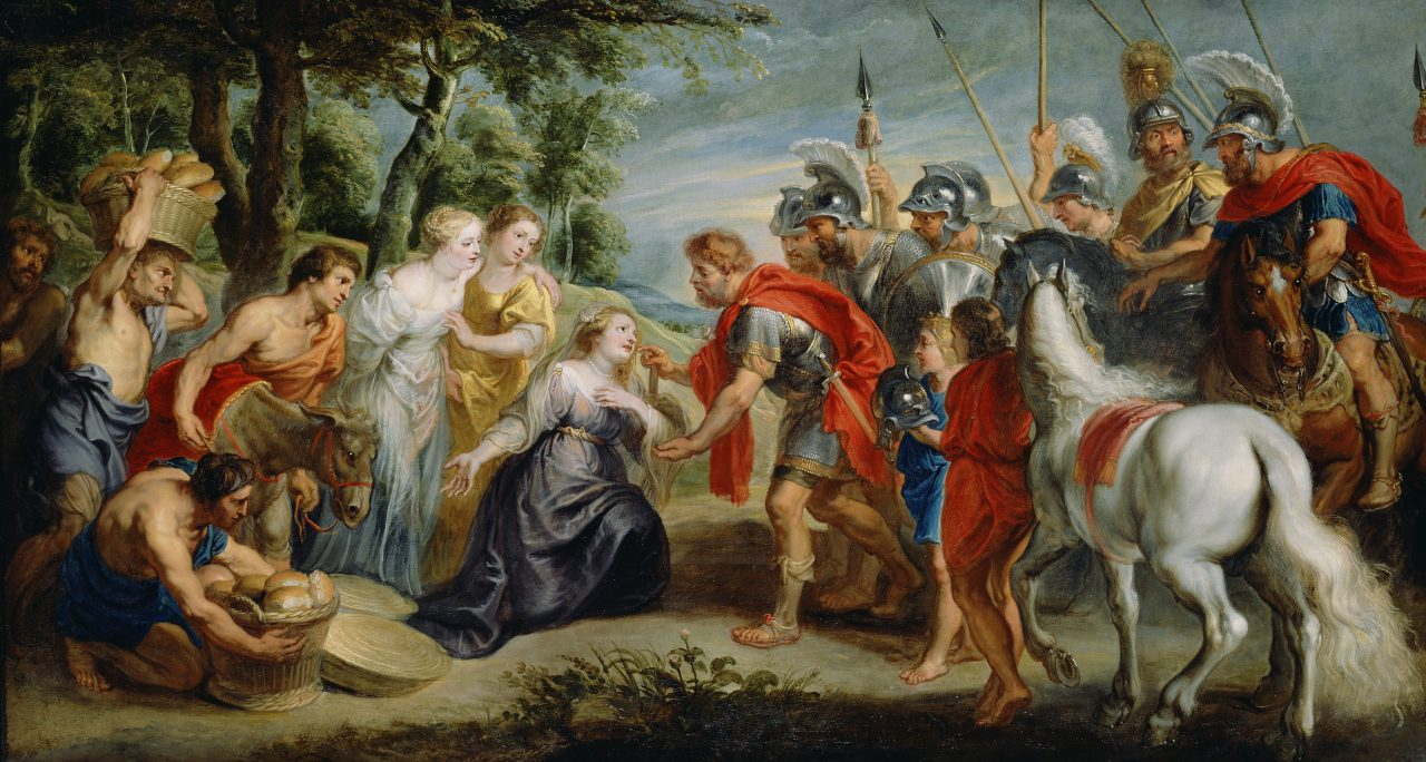 Peter Paul Rubens painting, meeting of soldiers and peasants