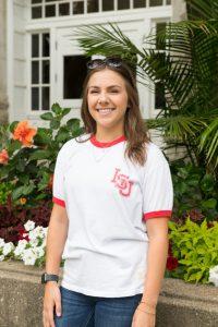 Student Wearing Vintage ISU logo apparel