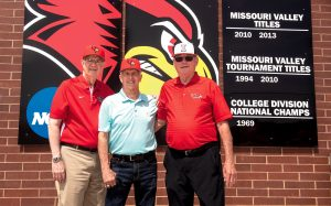 Mike McCuskey (left), Buzz Capra, and Jim Brownlee enjoyed reuniting with the ir 1969 team members at ISU in May.