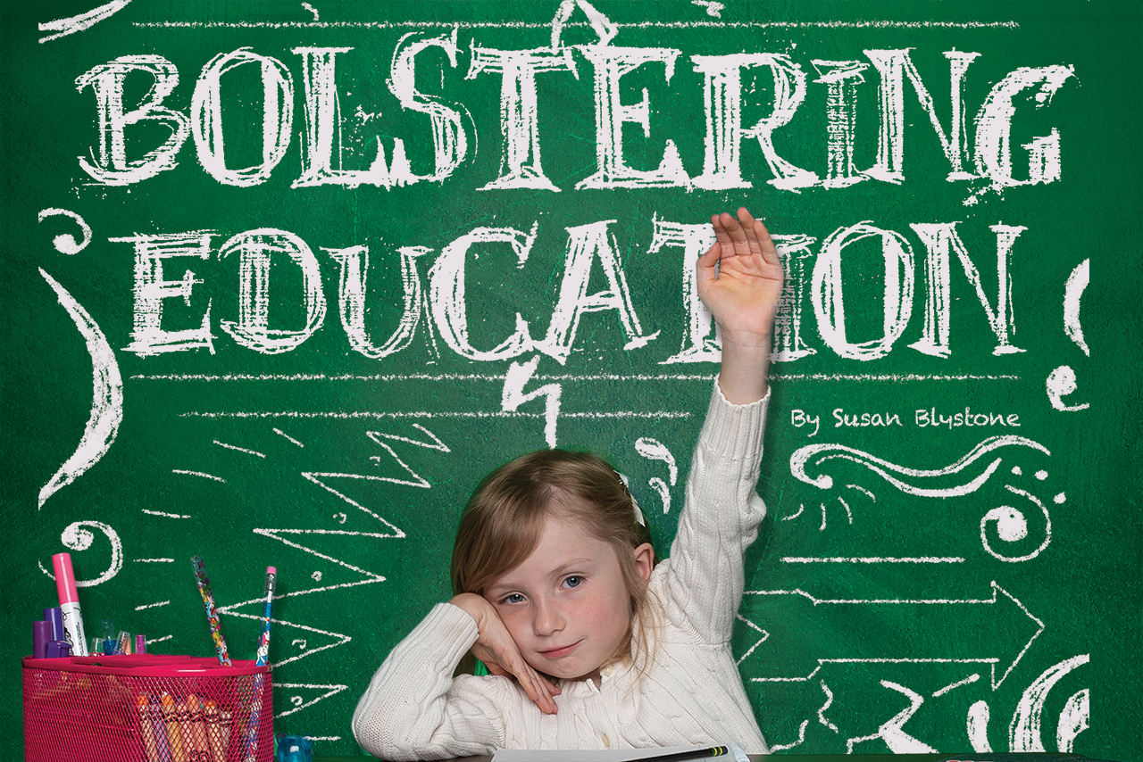Bolstering education on chalkboard behind student raising her hand