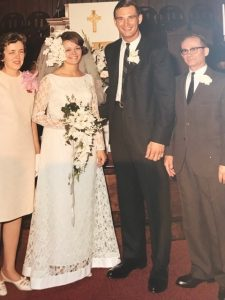 Lucy and James Patterson with Fred and Nancy Lutgens on their wedding day, June 10, 1967.