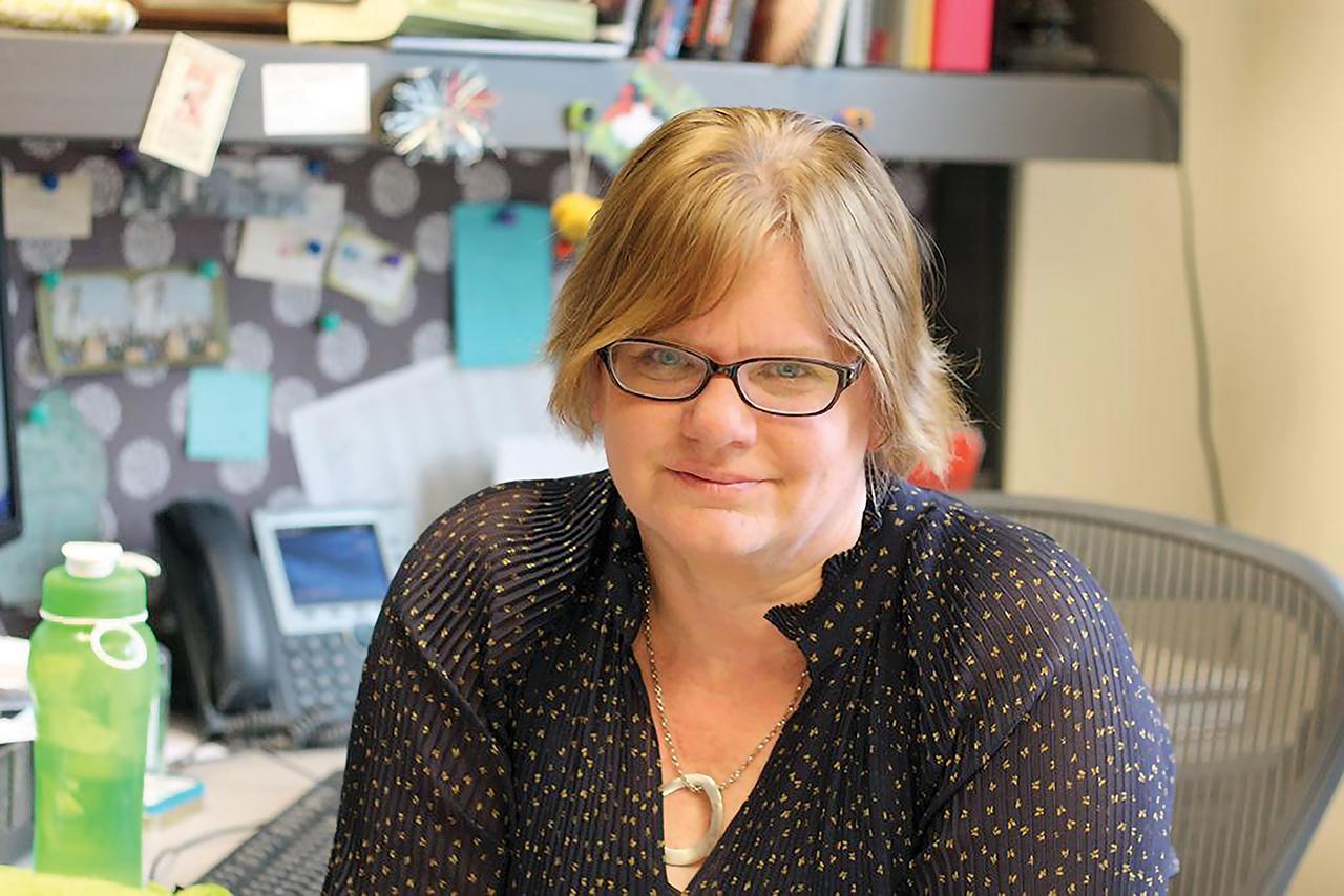 Female professor smiling