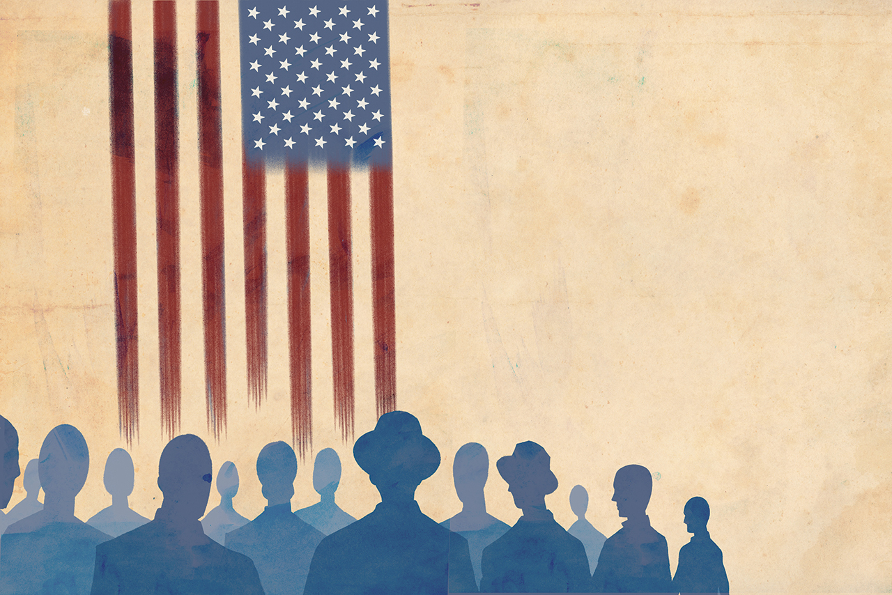 Drawing of people looking at the U.S. flag