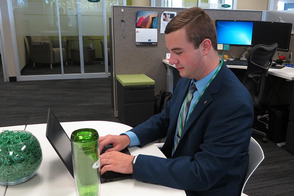 A Redbird intern enjoys the benefits of his internship