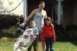 Runner with three children