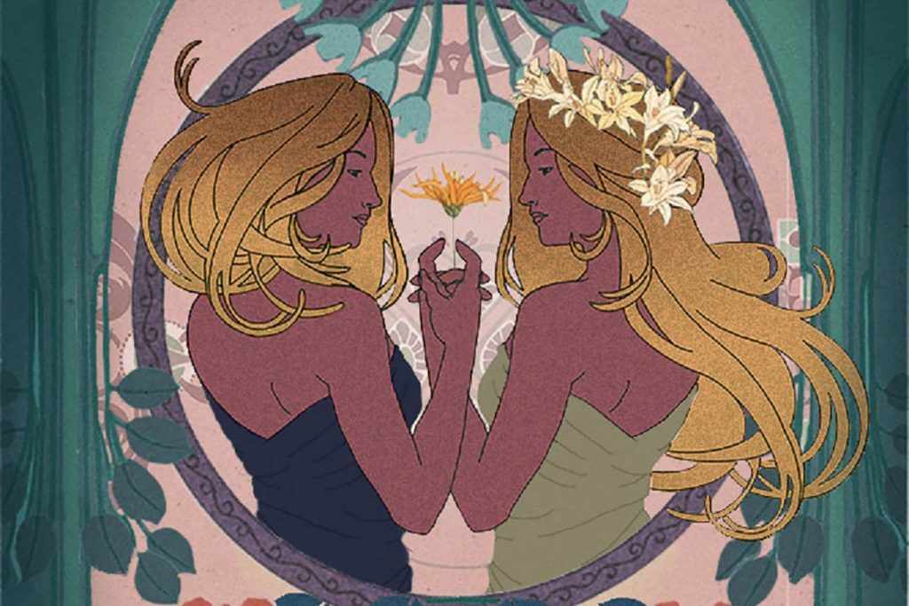 Production poster image for Twelfth Night depicting two blond women with a floral background
