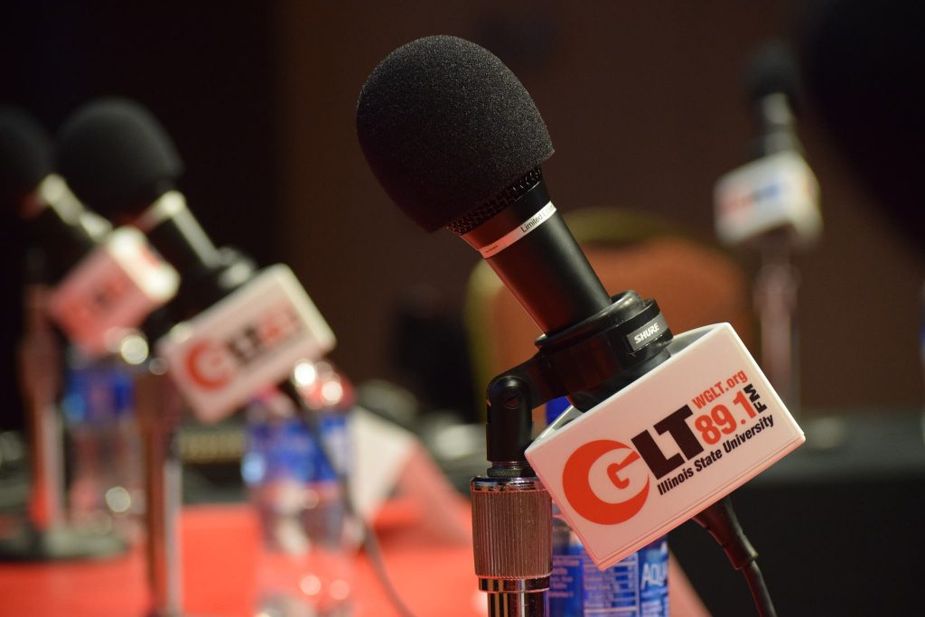 WGLT microphones on a table.