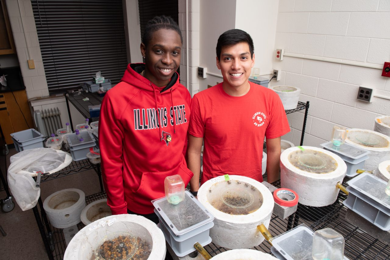 Students Abe Martinez and Earon Grinage working in Sadd's lab
