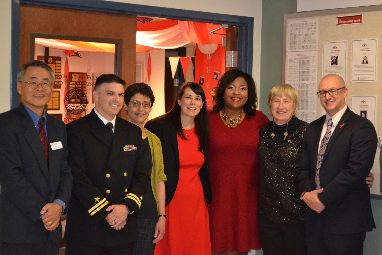 Department Chair T.Y. Wang (Left) with alumnus Lt. Michael Miller, Professor Noha Shawki, alumna Harriett Steinbach, alumna Nikita Richards, Professor Nanct Lind, and Erik Rankin.