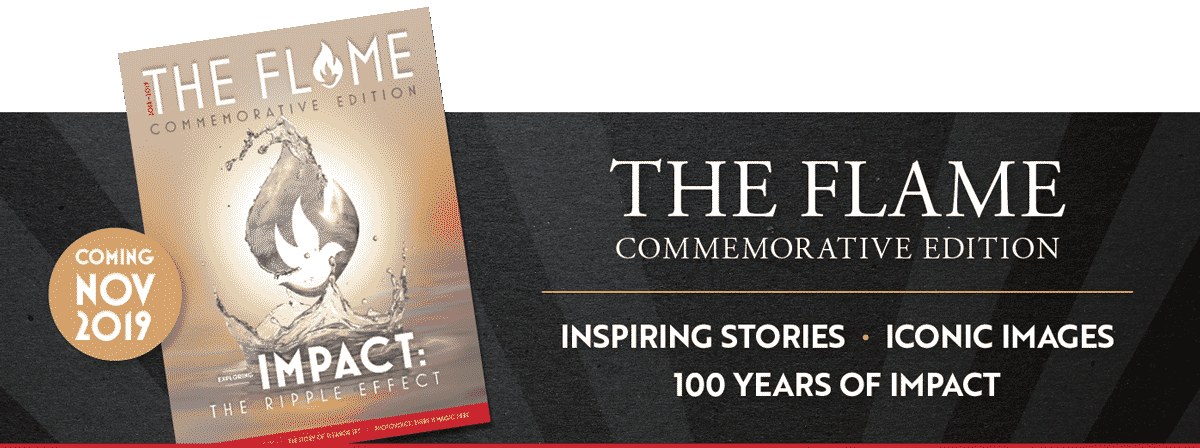 image of the flame magazine coming nov 2019 the falme commemorative edition inspiring stories iconic images 100 years of impact