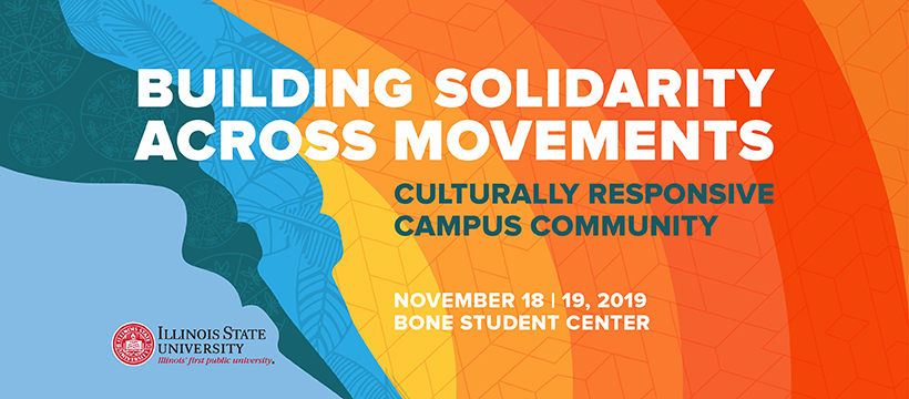 Logo for the Culturally Responsive Campus Community (CRCC) Fall Conference with the test Building Solidarity Across Movements, November 18-19, 2019, Bone Student Center