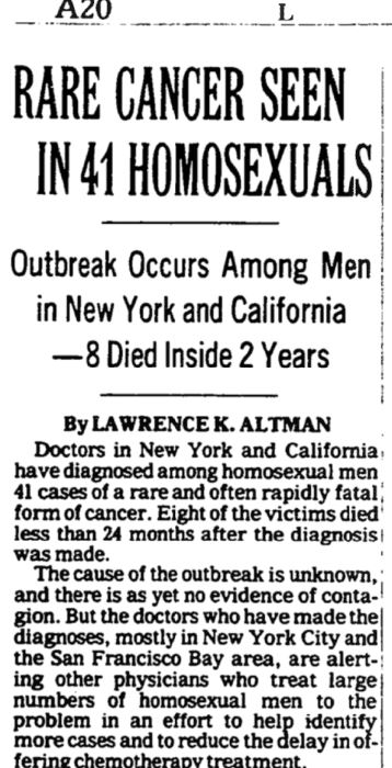"""clipping from the New York Timeswith title """"Rare cancer seen in 41 homosexuals"""""""
