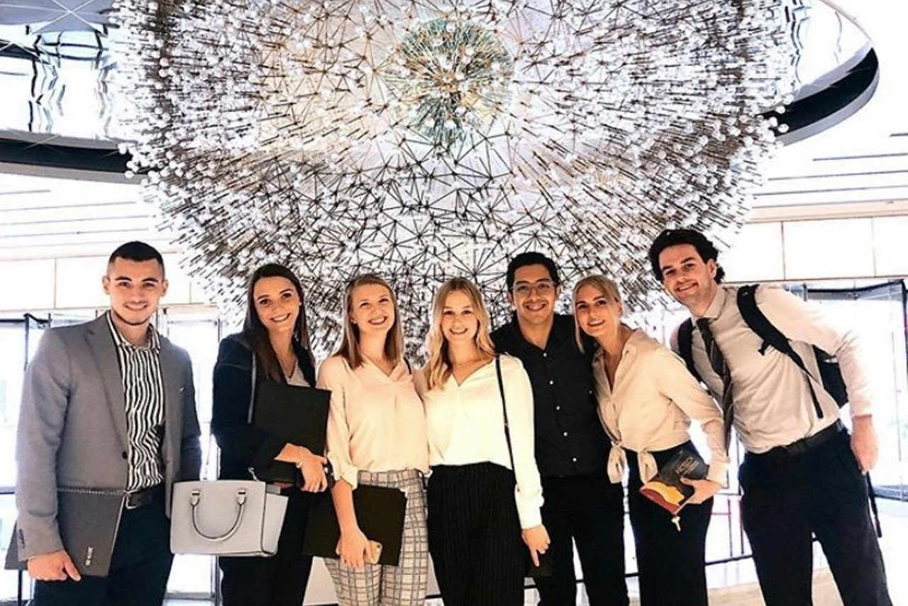Public Relations Student Society of America members on an agency tour.