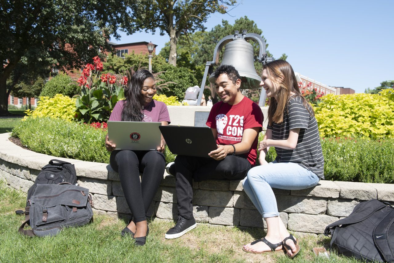 Students studying on the quad
