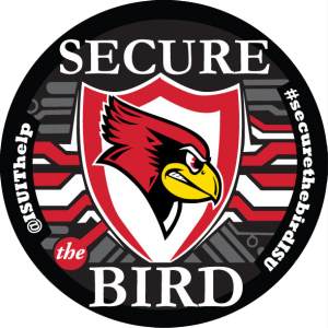 Secure Bird logo with #isusecuretherebirdisu and @isuithelp