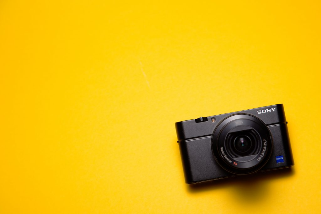 camera on a yellow background