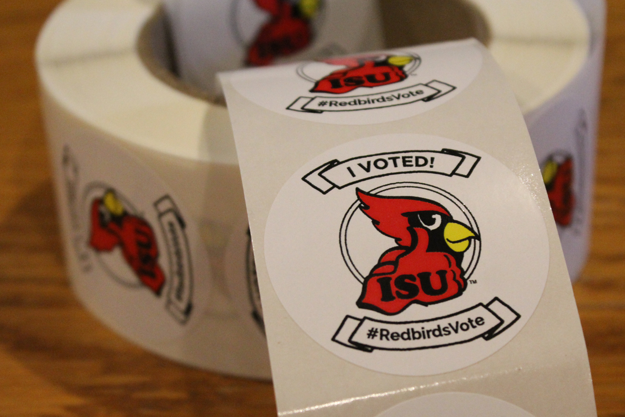 Stickers with I Voted and Reggie Redbird sticker with I Voted, ISU, and #ISUVOTES