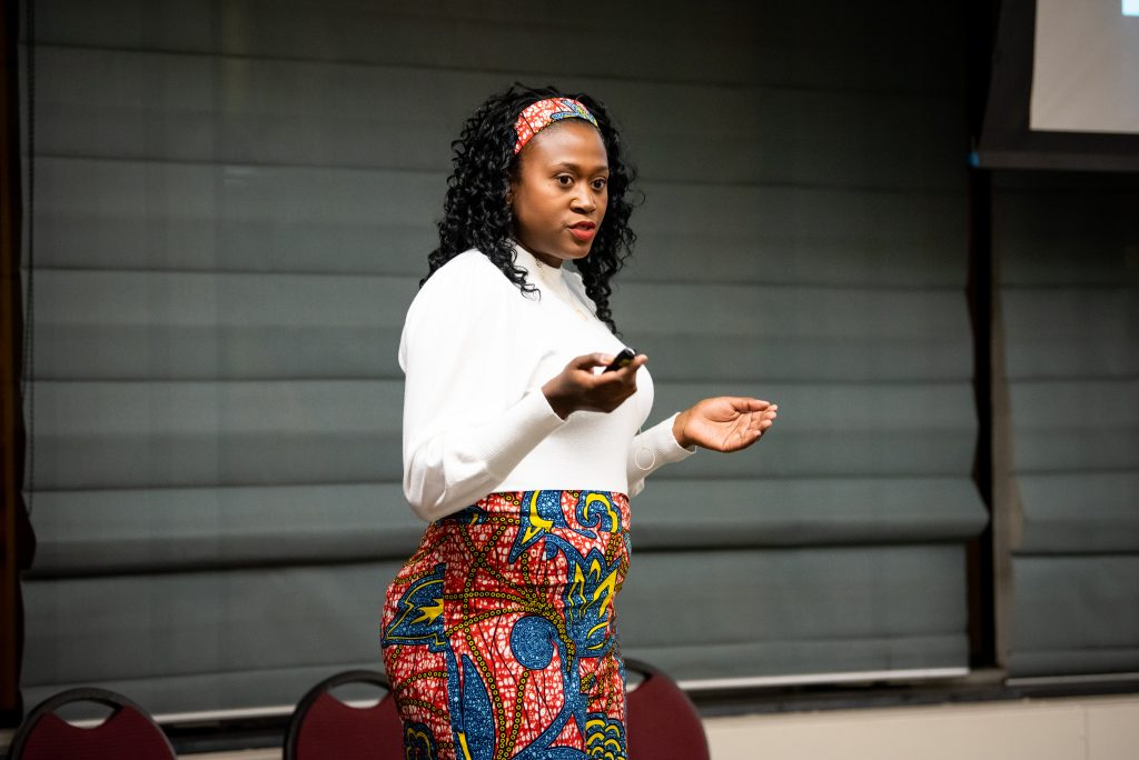 Candice Halbert '01 urges students to take advantage of opportunities and pay it forward during her keynote speech at Thursday's STEM Social program in the Vrooman Center