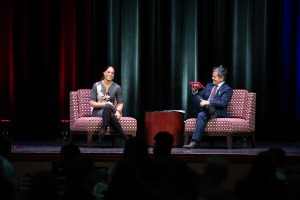 Soledad O'Brien with Assistant Professor Alejandro Enriquez during the Q&A session.