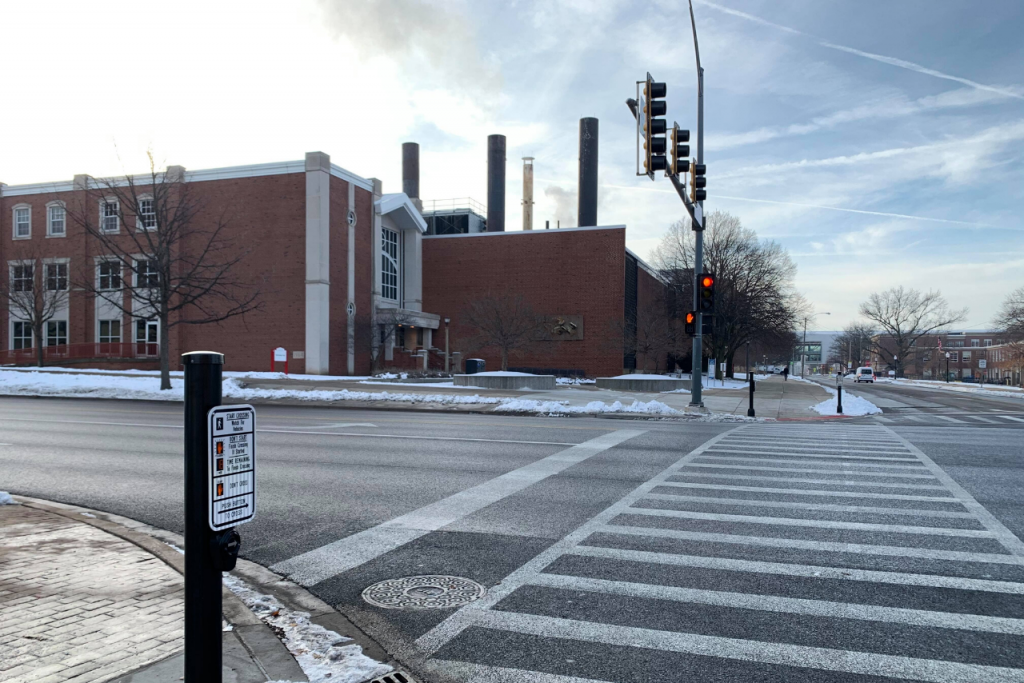 Crosswalk at the intersection of University and College