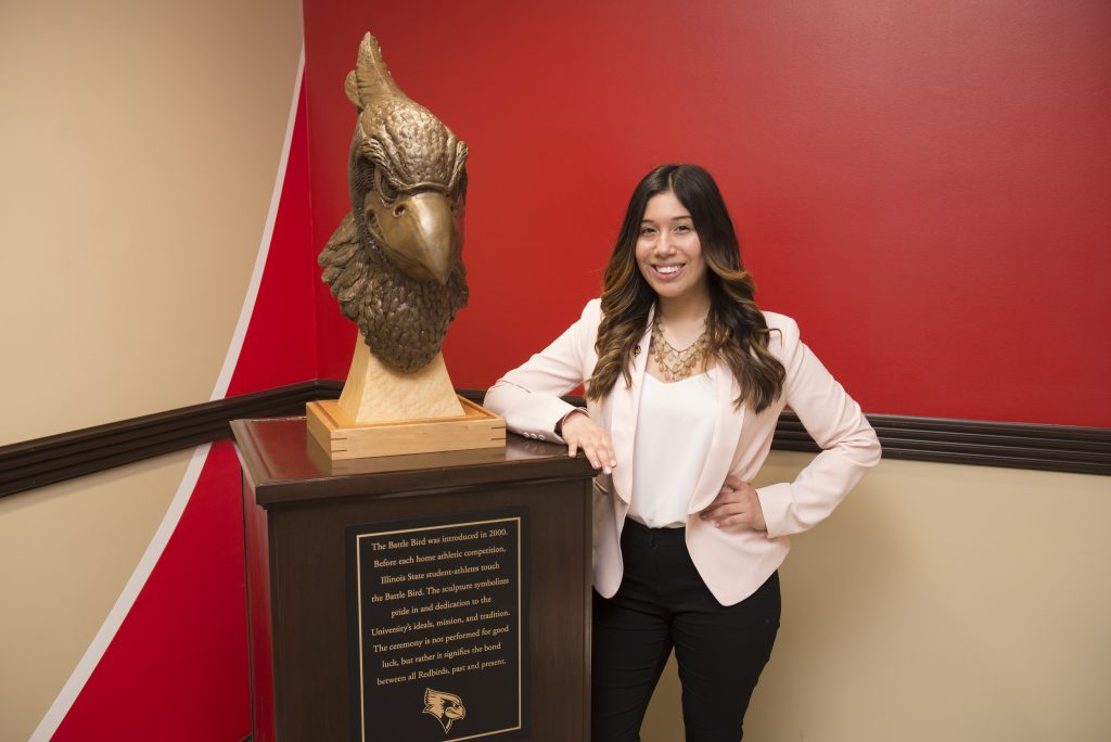 The replica Battle Bird in Hovey Hall is one option for commencement photos.