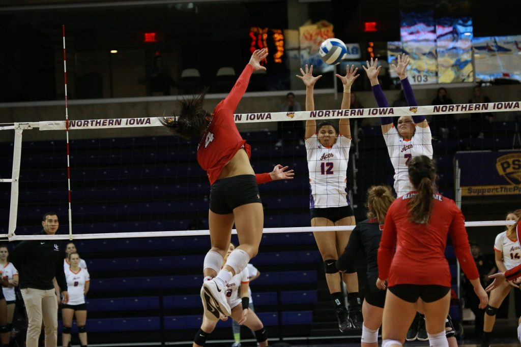Illinois State junior outside hitter Kaylee Martin goes up for a kill against Evansville in the Missouri Valley Conference tournament on November 28 in Cedar Falls, Iowa.